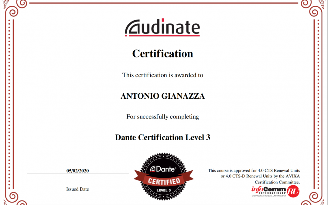 Certificazione Audinate/Dante Level 3